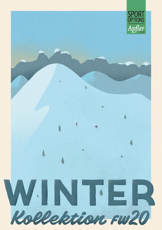 cover der einladung zur präsentation der winterkollektion fw20 – sportoptions apfler
